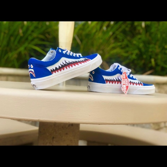 270d156db965ab Blue bape old skool vans customs shark teeth